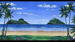 cara melukis pantai tropis dan pulau-pulau menggunakan akrilik di atas kanvas