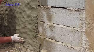 Mauer aus Beton in Steinoptik selber machen .