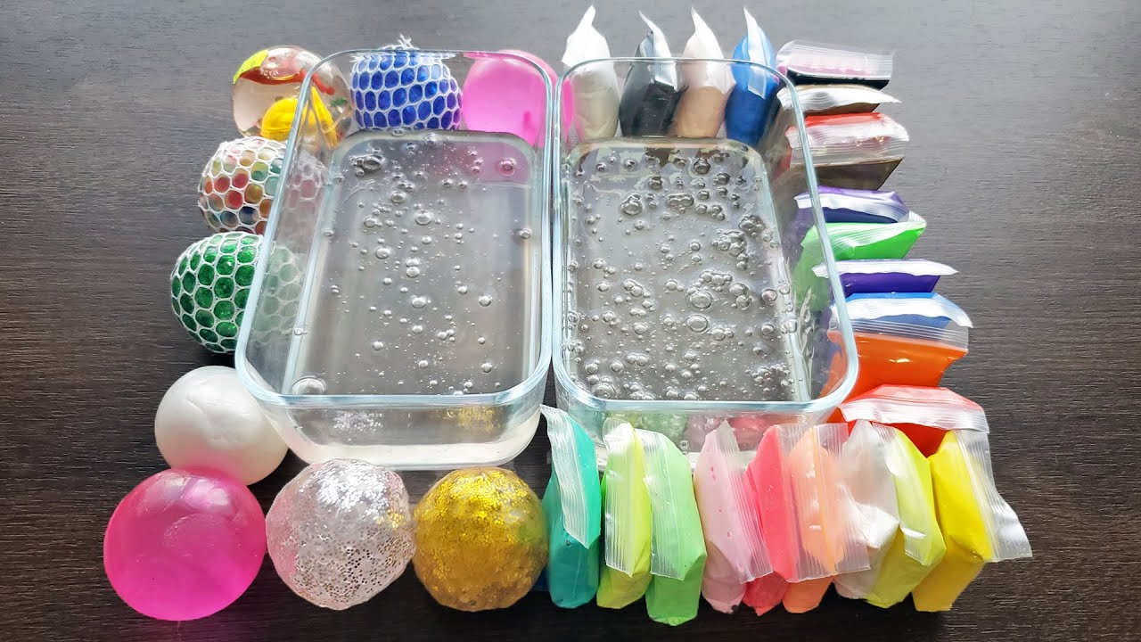 Clay vs Stress Balls Mixing into Clear Slime