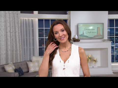 "32"" Sterling & Gemstone Bead Liquid Silver Necklace by American West on QVC"