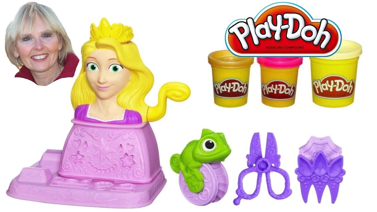 Play Doh Disney Princess Rapunzel Hair Designs Set Youtube