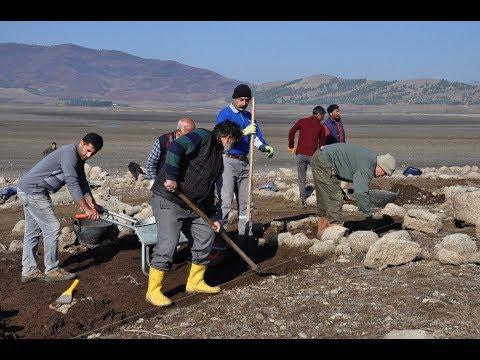 Baraj Suyu çekilince Ortaya çıkan Höyükte Arkeolojik çalışma Başlatıldı