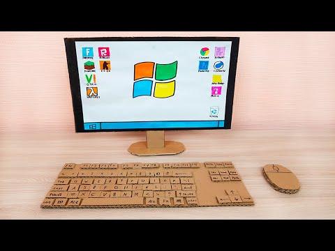 Working Cardboard Computer PC Windows Stop Motion ASMR