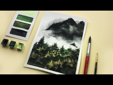 Misty Mountains & Glowing Forest | Easy Painting For Beginners | Relaxing Painting with Watercolors