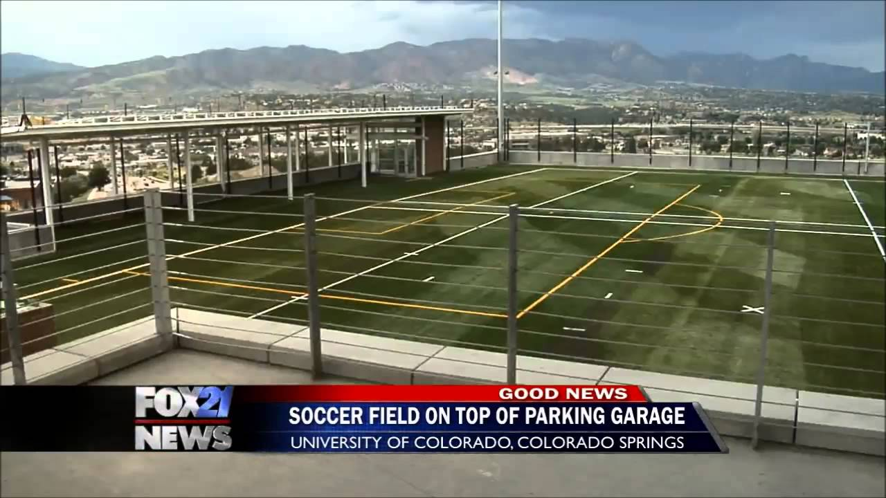 Garage Parking Stop >> New rooftop soccer field opens at UCCS - YouTube