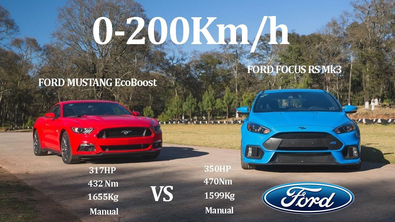 comparative ford mustang fastback ecoboost 317hp vs ford focus rs mk3 350hp rwd vs awd youtube. Black Bedroom Furniture Sets. Home Design Ideas