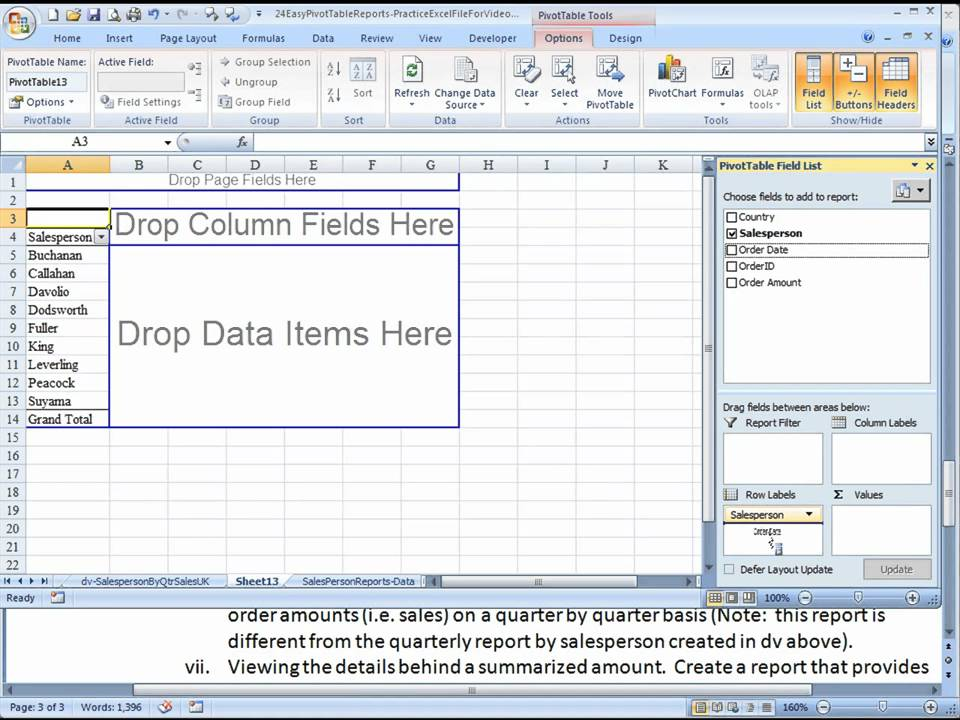 Pivot Table Reports - Dvi Quarterly Sales By Salesperson By