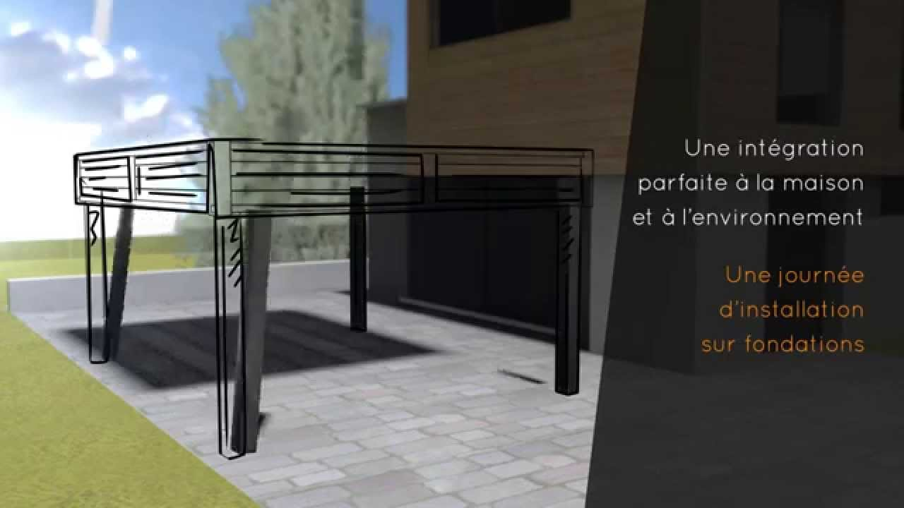 carport en aluminium toit plat sur mesure eurocarport aluminium youtube. Black Bedroom Furniture Sets. Home Design Ideas