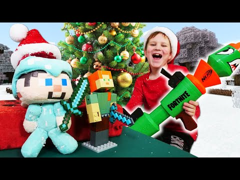 Игры для мальчиков - Стив Майнкрафт и подарок на Новый Год! – Онлайн видео обзор.