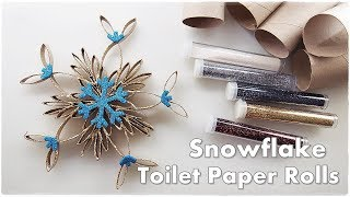 DIY Toilet Paper Rolls Christmas Ornaments Gorgeous Sparkly SNOWFLAKE ♡ Maremi's Small Art ♡