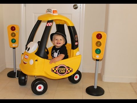 Baby Cab Driver Riding in the Little Tikes Cozy Coupe Cab