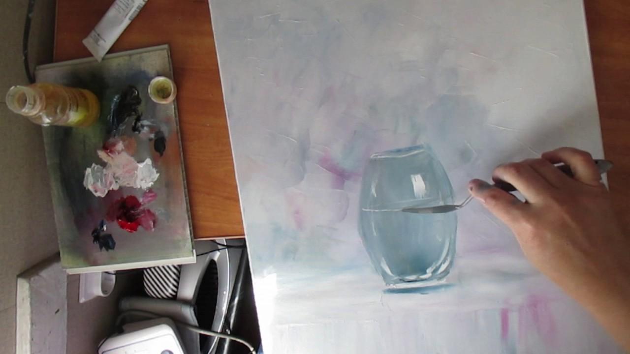 Как нарисовать прозрачную вазу с цветами