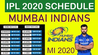 Mumbai Indians Full Schedule for IPL 2020 #MI Fixtures and All Matches, Timings, Venues