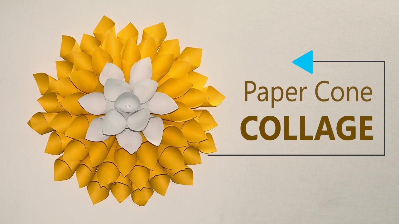 Paper Crafts DIY Wall Decoration - Paper Cones Collage Home Decor ...