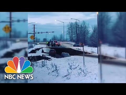 Video Shows Collapsed Road After Alaska Earthquake | NBC News
