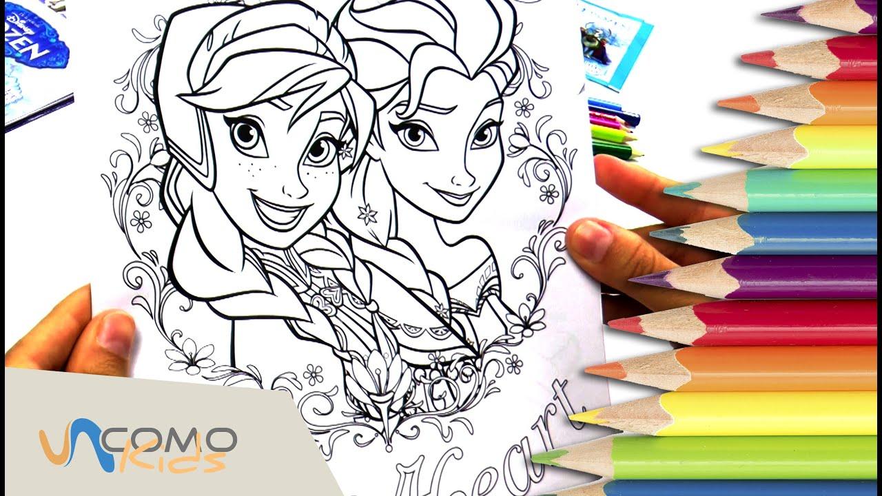 Colorear dibujos de Frozen  Anna y Elsa  YouTube