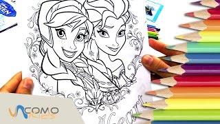 Colorear dibujos de Frozen - Anna y Elsa