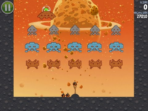 Angry Birds Space Level 1-9 Eggsteroid and Level E-1 3-Star Walkthrough iPhone/iPod/iPad