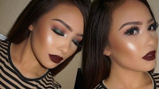 Easy Emerald Eyes & Dark lips | Fall Makeup Tutorial