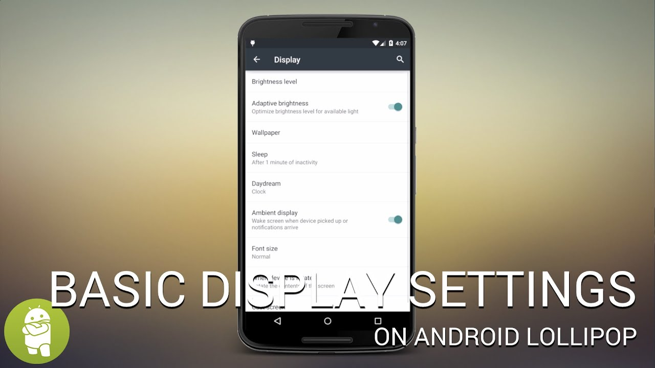 basic android lollipop display settings