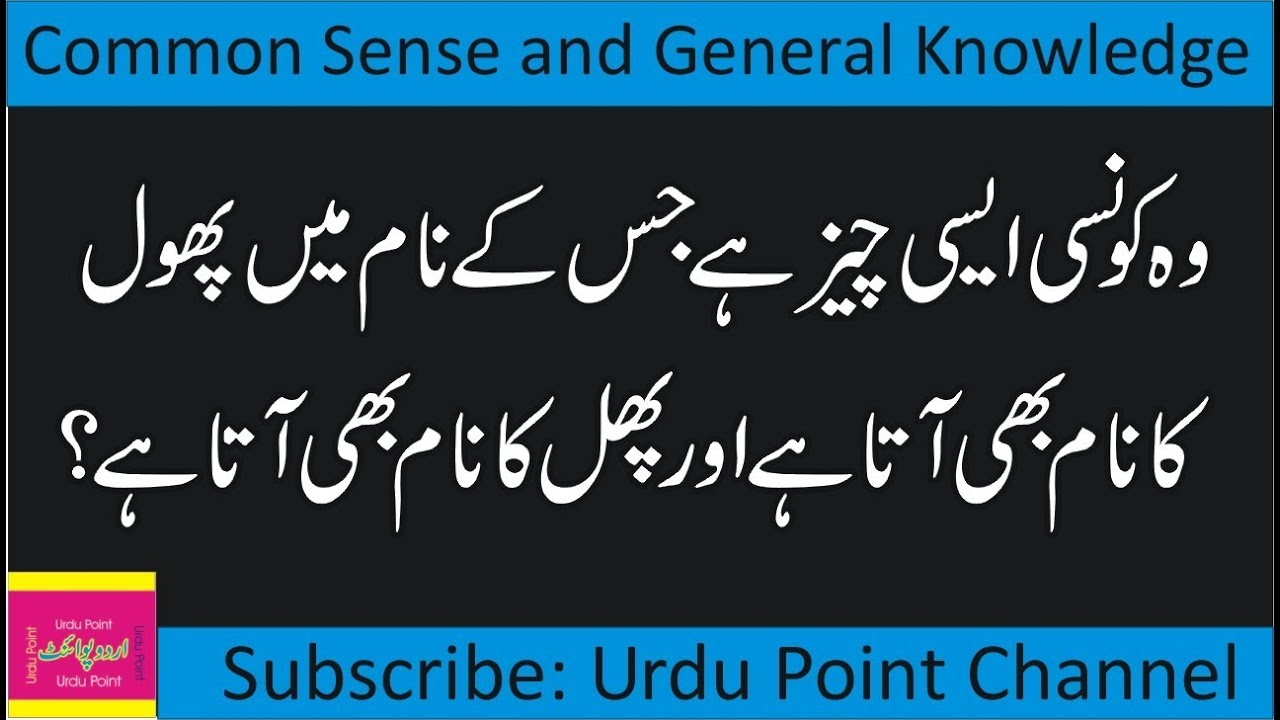 Common Sense IQ Test | General Knowledge Quiz | Interesting Questions  Answers in Urdupoint