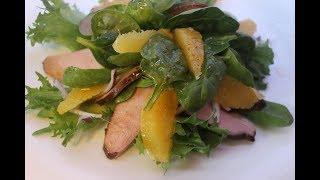 Салат из копченой утиной грудки и апельсина