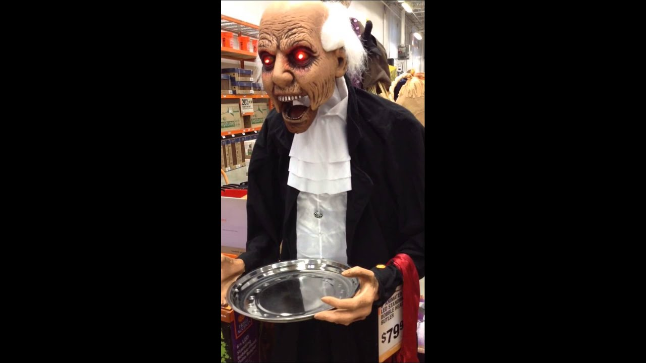 home depot halloween 2015 6 ft bobble head butler youtube