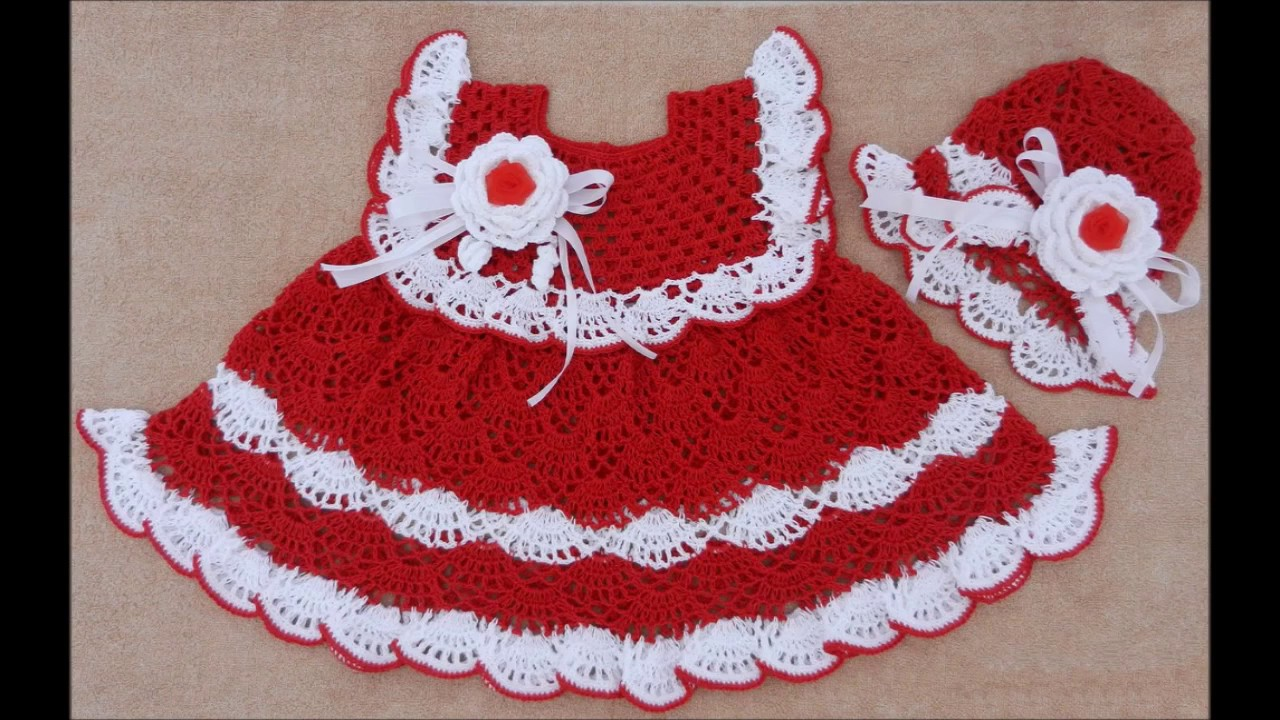 Vestidos Tejidos A Crochet Para Bebe De 0 3 Meses