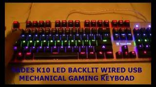 SADES K10 LED Backlit Wired USB Mechanical Gaming Keyboard with Blue Switches (Black)