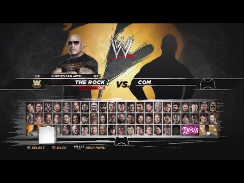 WWE 12- Character Select Screen Including All DLC Pack Roster