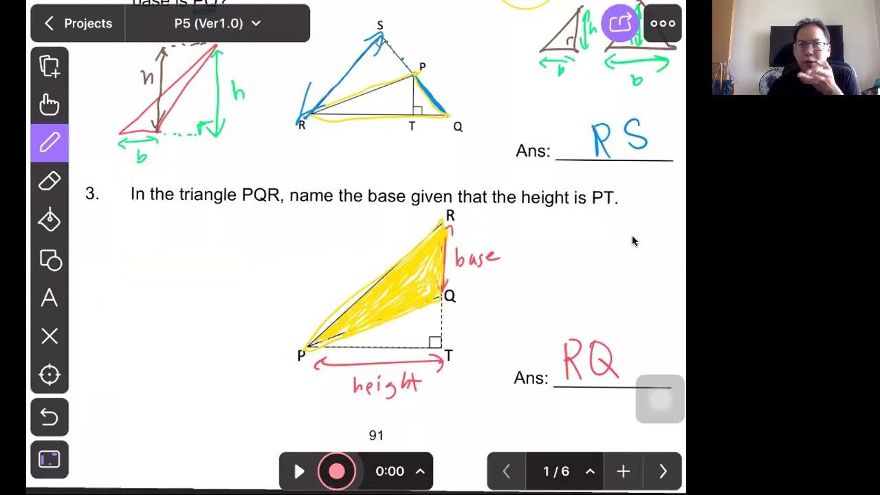 P5 Math : Area of a Triangle (Test)