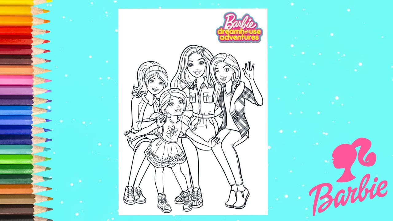 Coloring Barbie Friends In School Barbie Dream House Adventure Coloring Pages Youtube