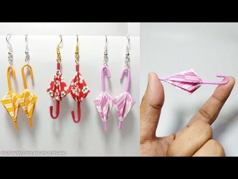 Origami umbrella | DIY paper umbrella Earrings || Origami for beginners
