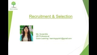 "Human resource management studies - ""recruitment & selection"" in simple words hindi"