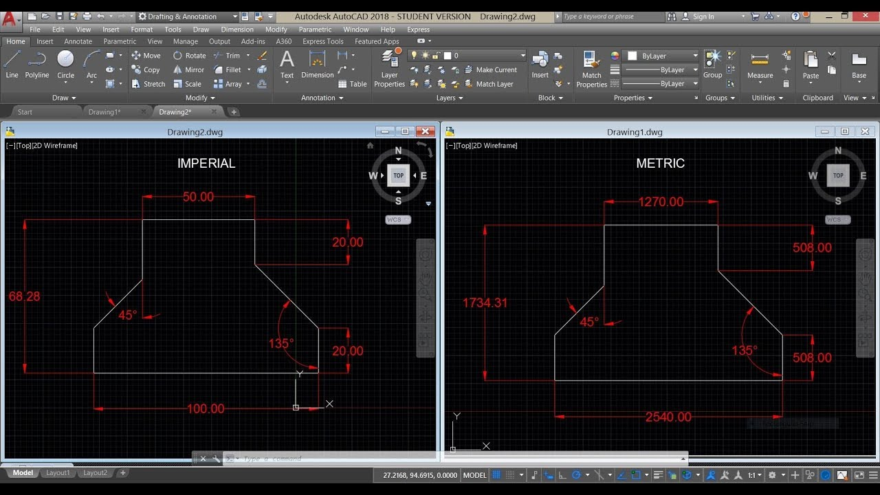 How To Convert Units Of An Existing Drawing In Autocad Youtube