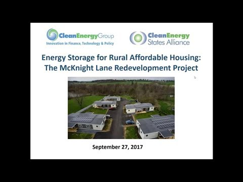 Energy Storage for Rural Affordable Housing: The McKnight Lane Redevelopment Project (9.27.2017)