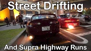 REAL Tokyo Street Scene - Drifting, Highway Runs, Cops. S14, S15, R34, 2JZ Supra, Mazda RX7, AE86