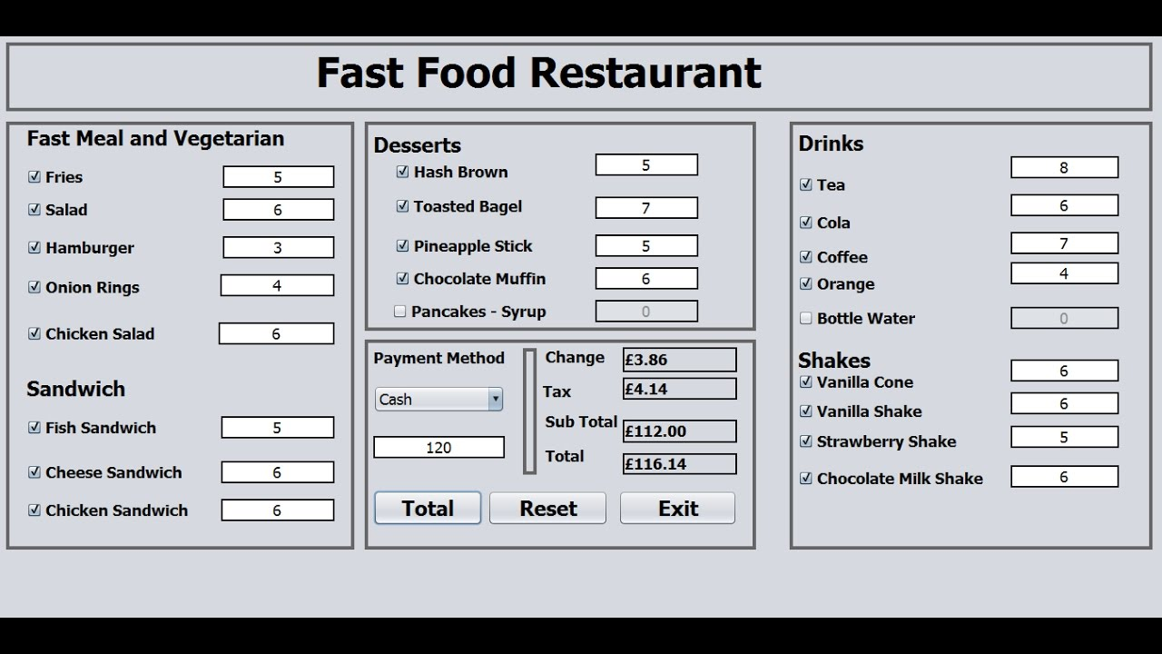 How To Create A Fast Food Restaurant Systems In Java