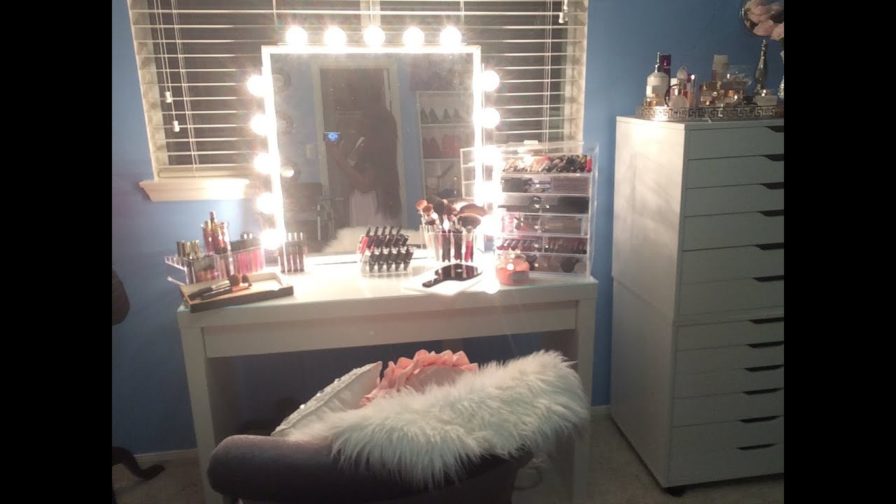 makeup vanity with lots of storage.  MAKEUP VANITY TOUR ORGANIZATION STORAGE YouTube