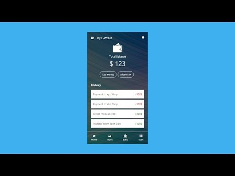 How To Make Mobile Wallet UI Using HTML CSS | E-Wallet App UI Design