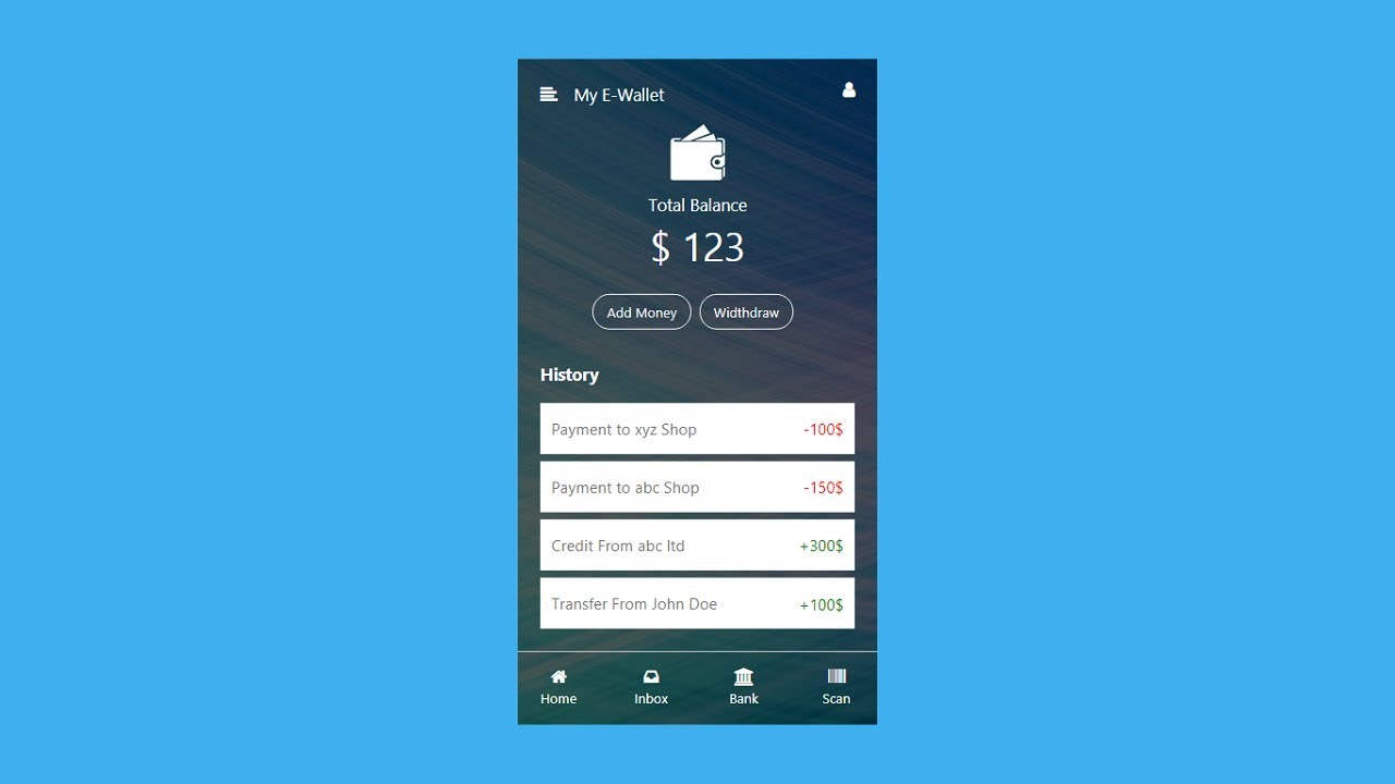 How To Make Mobile Wallet Ui Using Html Css E Wallet App Ui Design