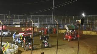 Big wreck Lincoln Speedway after checkers 358 sprint car feature