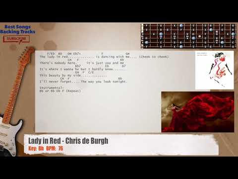 Lady In Red - Chris De Burgh Guitar Backing Track with chords and ...