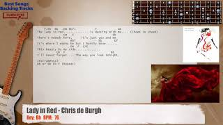 Download Lady In Red - Chris De Burgh Guitar Backing Track with chords and lyrics MP3 song and Music Video
