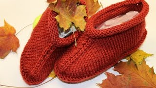 Knitted slippers for beginners_ Вязаные тапочки
