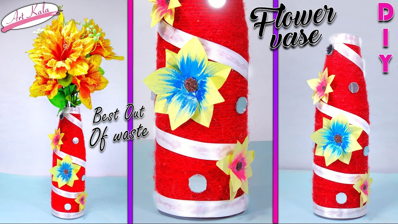 diy home decor from waste how to make flower vase from waste woolen home decor 12091