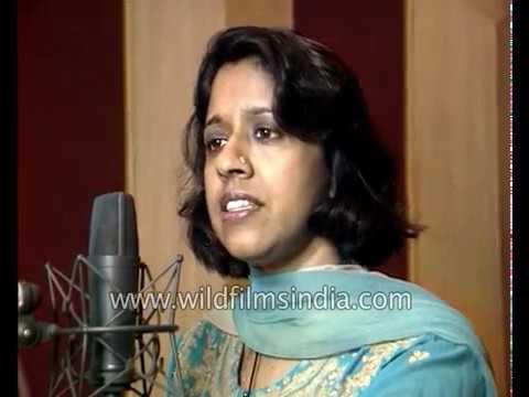 Kavita Krishnamurthy records a Hindi movie song at an audio recording studio