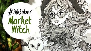 """Drawing timelapse + Q&A    INKTOBER — """"Market Witch"""""""