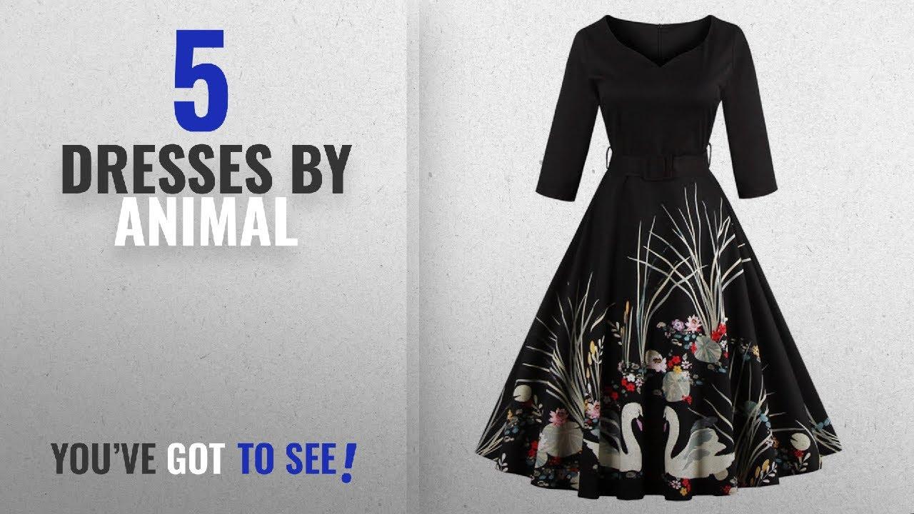 02c1109c6a7 Top 10 Animal Dresses  2018   DressLily Women Swan Printed Belted ...
