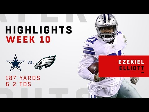 Ezekiel Elliott's 2 TDs & 187 Total Yards vs. Philly!